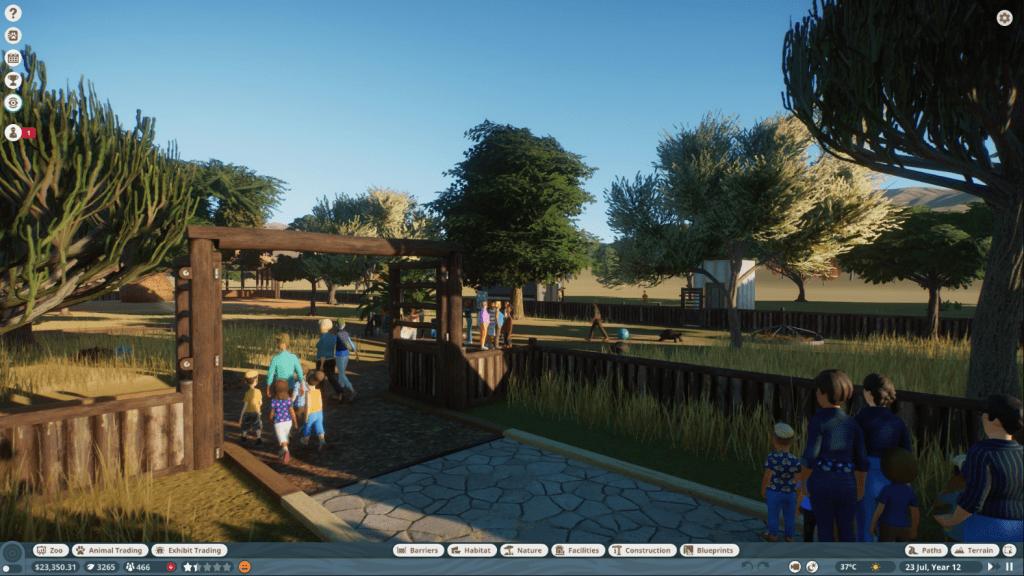 Planet Zoo guest entrance gate to habitat