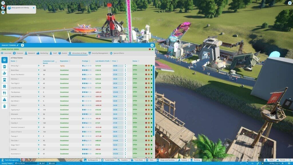 Planet Coaster ride fee menu